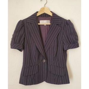 Trina Turk Pinstripe Short sleeve Jacket Blue Sz 8